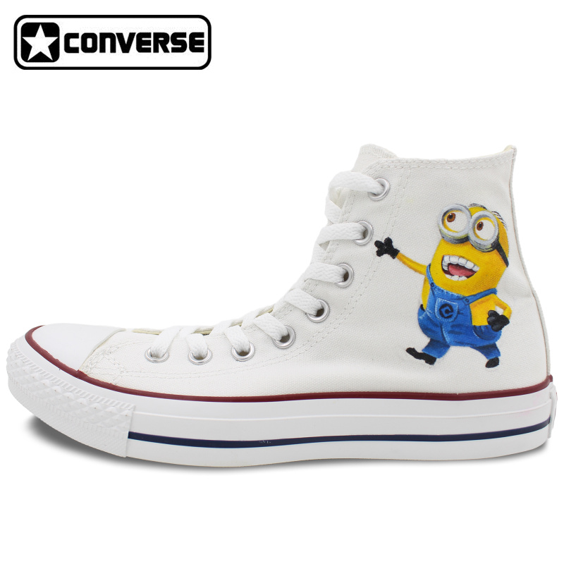купить  Hand Painted Shoes Men Women Converse Chuck Taylor Minions Despicable Me Custom Design High Top Canvas Sneakers Christmas Gifts  онлайн