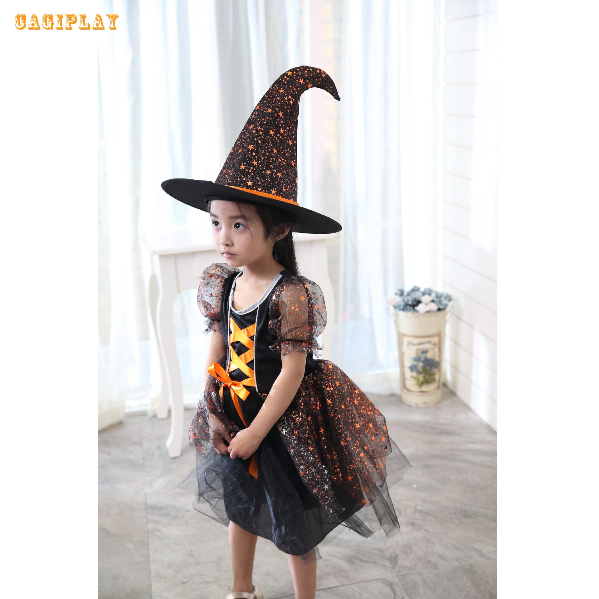 2018 New Lovely Orange Witch Dress Princess Dress Girl Carnival Cosplay Clothing Halloween Costume For Kids Age 3-10 Years