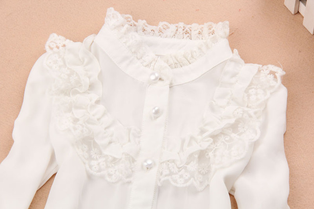Teenage Kids White Blouses Long Sleeve Chiffon Shirts For Students School Uniforms Lace Collar Tops 2 3 4 6 7 8 9 10 12 14 Years