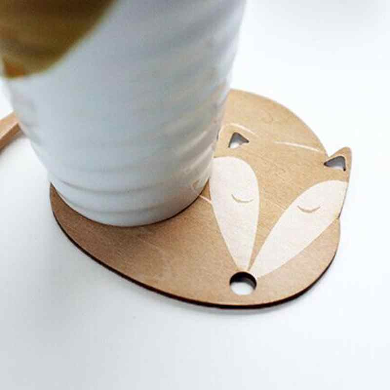 1pcs שולחן מחצלת חמוד חתול שועל כלב צבי כרית קריקטורה עץ Tablemat Coaster חום מבודד מטבח שולחן מחצלות שולחן מפית