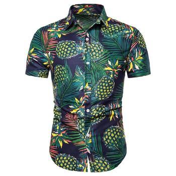 Social Shirt for Man Pineapple Print Hawaiian style Mens dress Shirts Short sleeve Blouse Men's clothing Casual Summer цена 2017