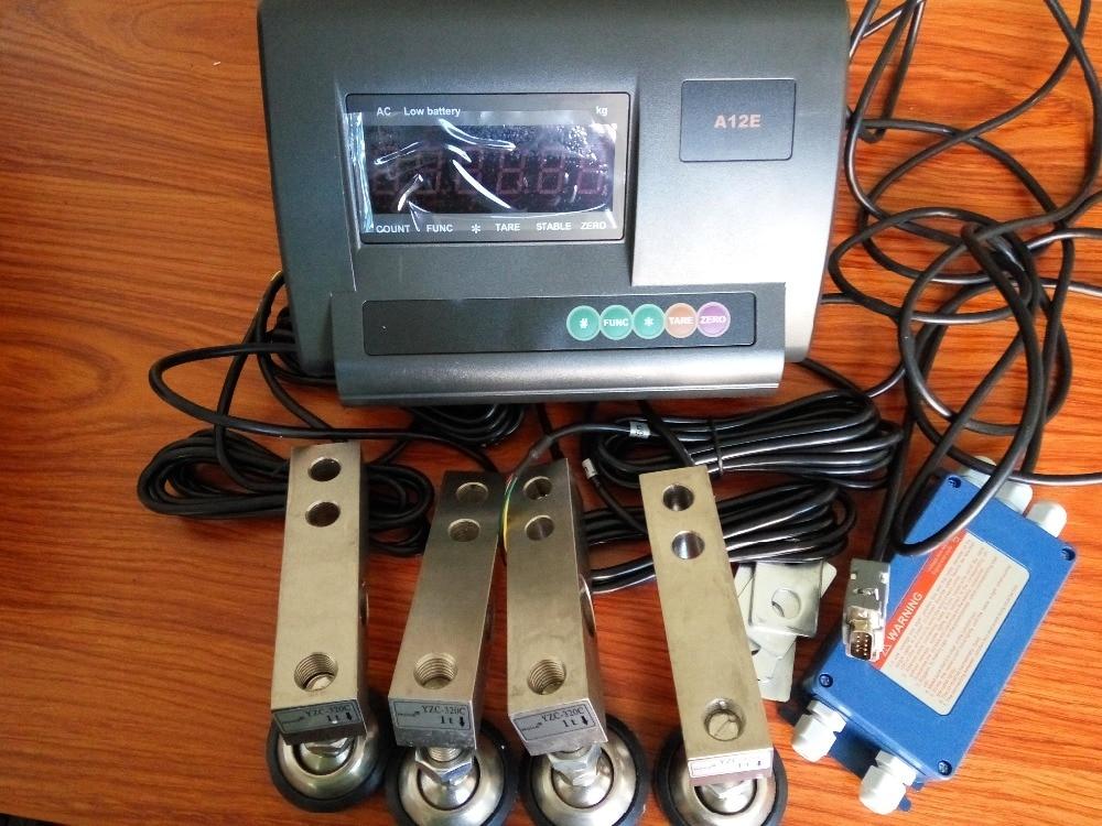Versão inglês DIY acessórios medidor de carga de pequena escala conjunto completo (0-3 Toneladas escolhas) célula de carga indicador YZC-320C XK3190-A12 + E