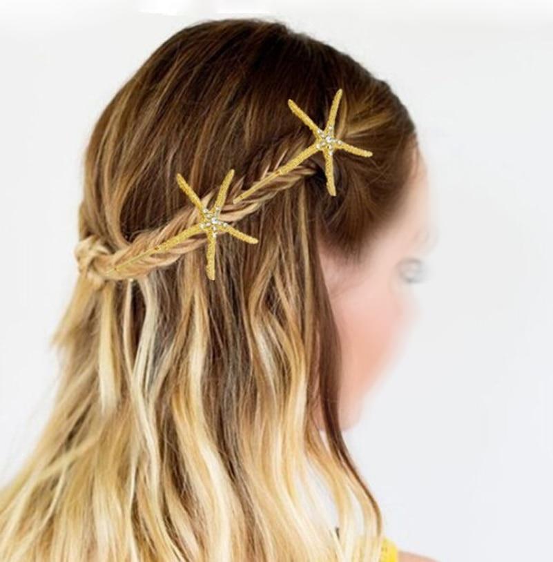 12 unids lote ezpasador de pelo de diamantes de imitación de cristal dorado  estrella de mar horquilla pinza de pelo accesorio de playa estilo océano en  ... 174bb71470b6
