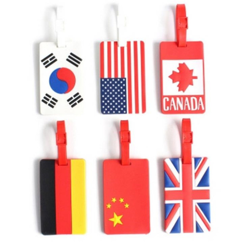 2018 New National Flag Luggage Tag PVC ID Address Holder Baggage Label Travel Accessories Bag Portable Travel Tags For Suitcase