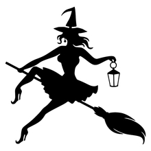 CS-241#14.7*15cm The Witch On the Broom. Option 6 funny car sticker and decal silver/black vinyl auto stickers