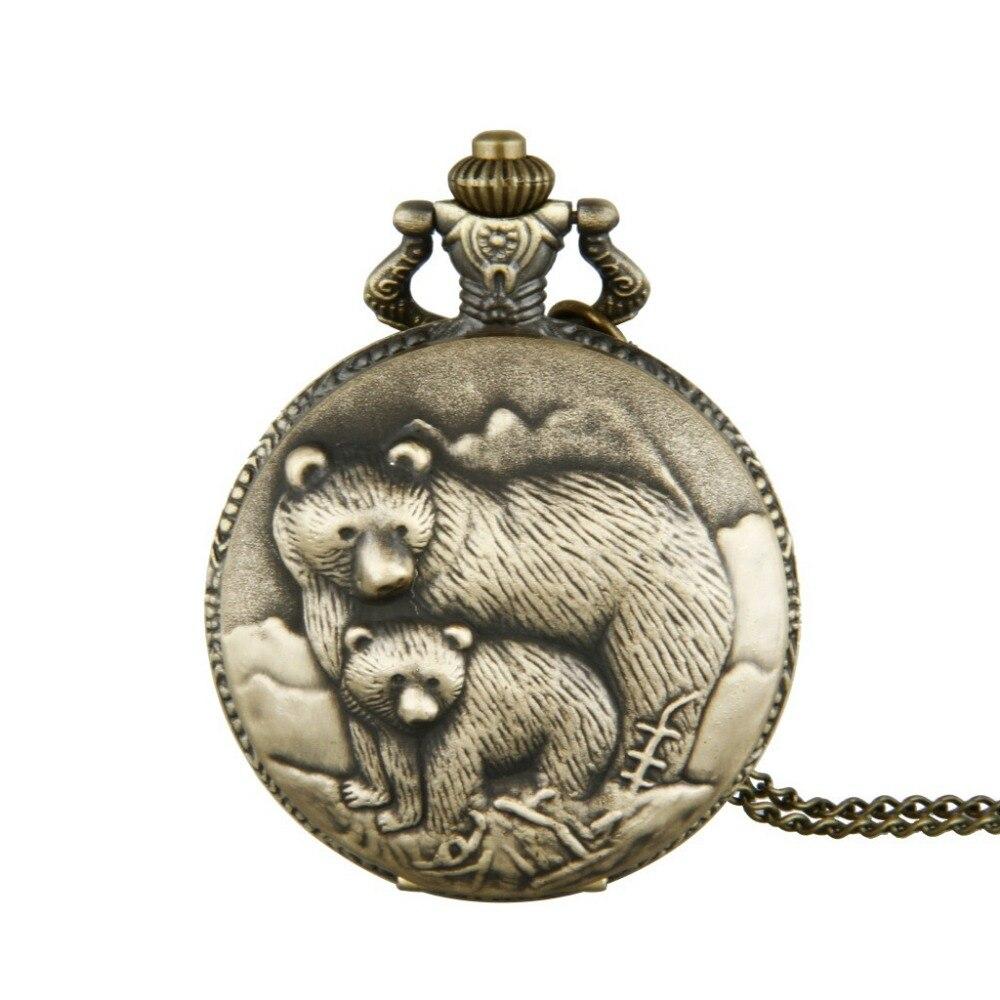 Pocket Watch Happy Bear Cute Souvenir  Antique Bronze Relief Design Quartz Stone Leisure Children's Gift