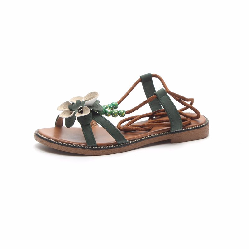 2018 New Bohemia Rome Women Sandals Female Beads Flower Flats Shoes Students Toe Flat with All-match Causal Sandals Flip-flops