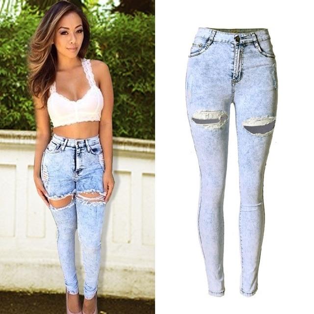 9308d971e Nueva moda mujer cintura alta Jeans damas Jeans Femme tramo de Jean azul  taille alta plus