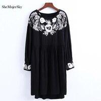 SheMujerSky Autumn Women Dress Embroidery Floral Bodycon Long Sleeve Loose Black Dress Spliced Dresses Vestidos