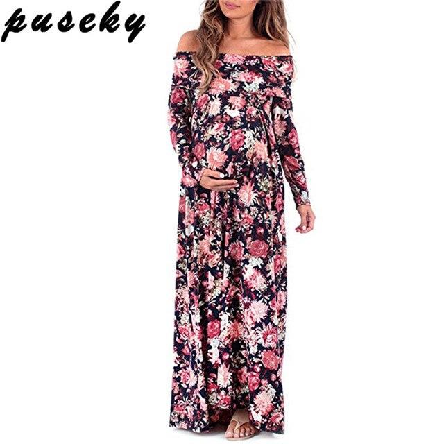 Puseky Boho Floral Print Maternity Dress Photography Props ...