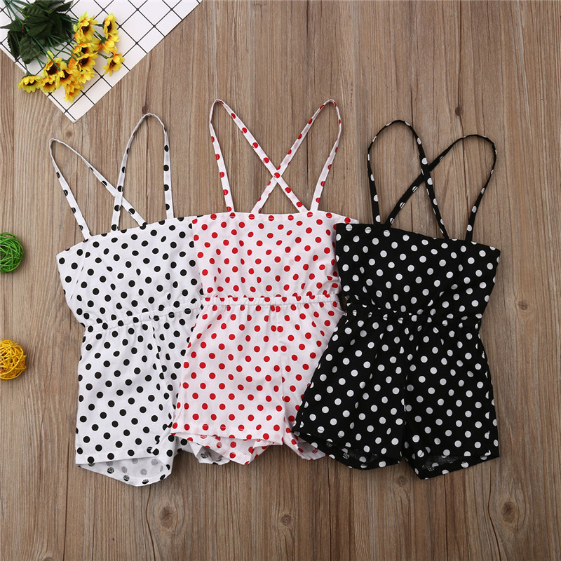 2019 New Boho Style Baby Clothes Girls Summer Strap Rompers Dot Print Toddler Sling Jumpsuits Kids Sleeveless Overalls Playsuit