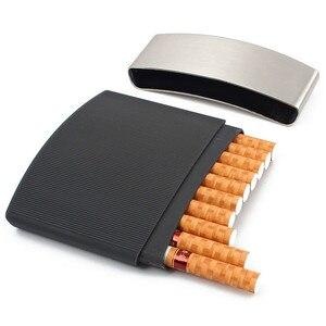 Ultra-thin 10 Packs of Cigarette Box for Men Waterproof and Pressure-proof Portable Metal Cigarette Case Cigarette Accessories(China)