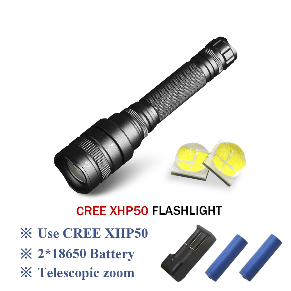 Led Flashlights Torch Flashlight Xhp50 Camping Searchlight Rechargeable Telescopic Zoom Powerful Led Flashlight 2*18650 Led Lantern Lampe Torche Buy One Get One Free