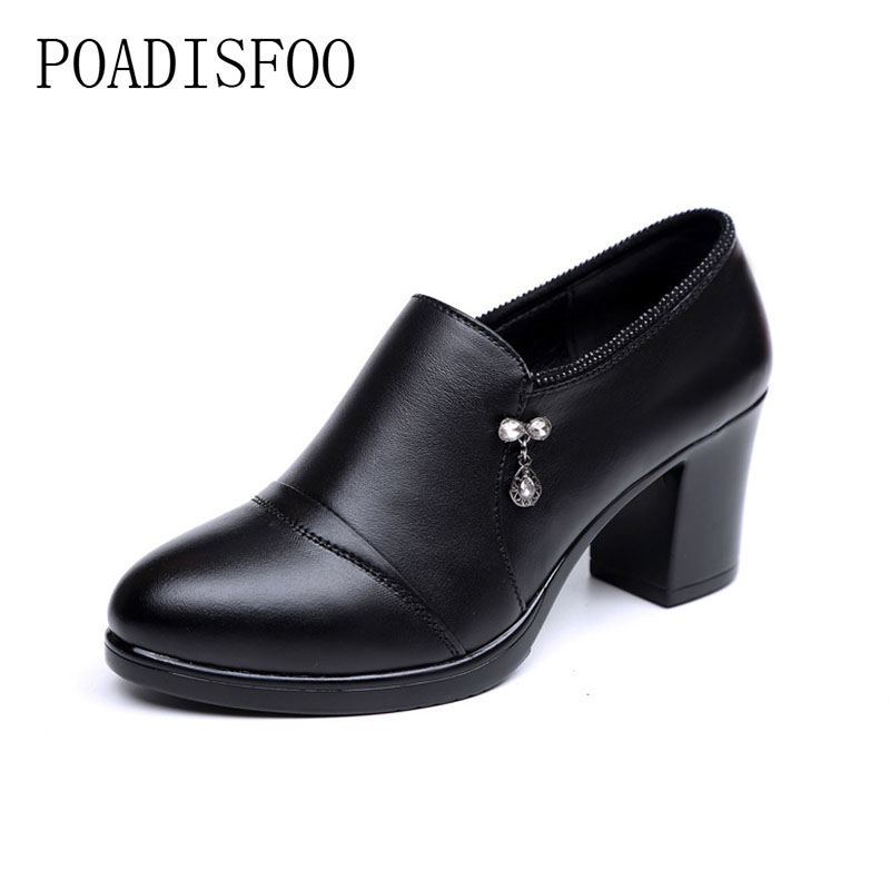 2017 new The first layer of leather leather shoes deep mouth comfortable temperament professional women shoes fashion .TX-128 17 years the new season the first layer of leather shoes shoes men lazy casual leather shoes shoes retro matte doug