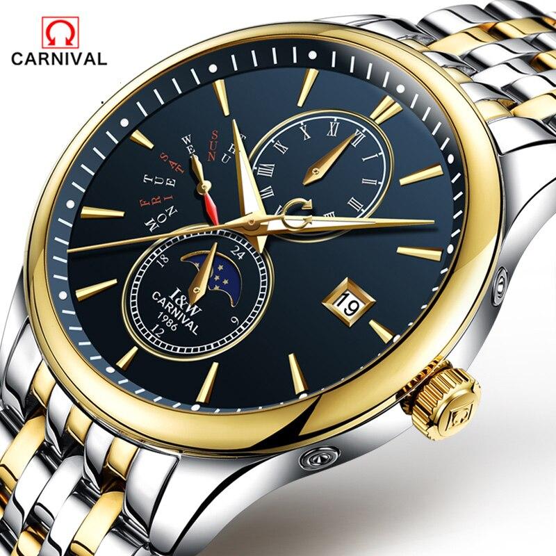 CARNAVAL 2018 Homens Relógios Top De Luxo Da Marca Esporte Relógio Mecânico Ouro Relógio Homens de Aço relógio de Pulso Automático Com a Fase Da Lua Cheia - 5