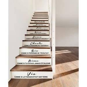 Image 2 - Stair Stickers French Citation Cheris Ta Famille Vinyl Wall Decals Mural Art Living Room Home Decor House Decoration Poster
