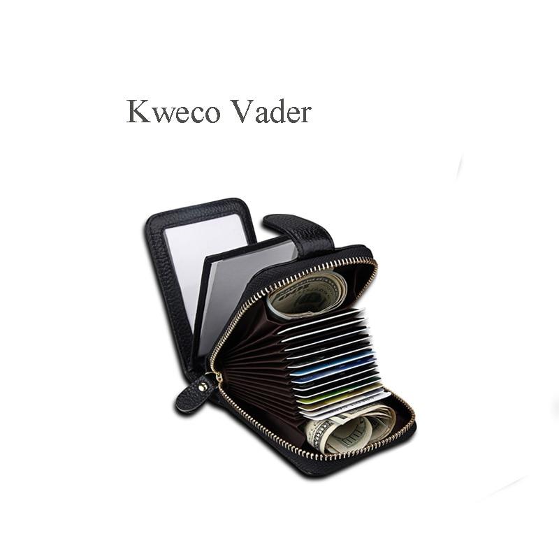 Kweco Vader Brand Card Cover Mini Wallet Mens Multi Cardholder Genuine Leather Cards Holder Credit Card Holder Porte Carte
