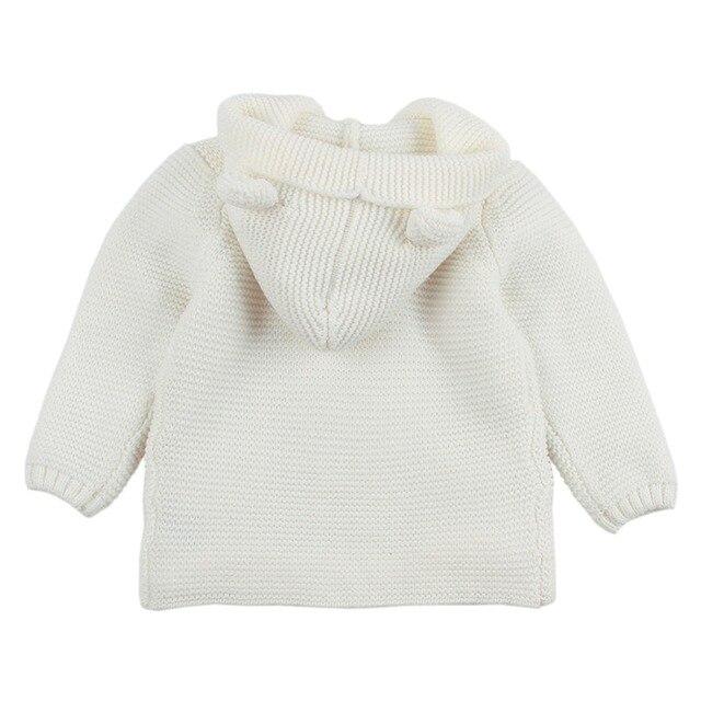 Baby Boy Knitting Cardigan 2019 Winter Warm Newborn Infant Sweaters Fashion Long Sleeve Hooded Coat Jacket Kids Clothing Outfits 2