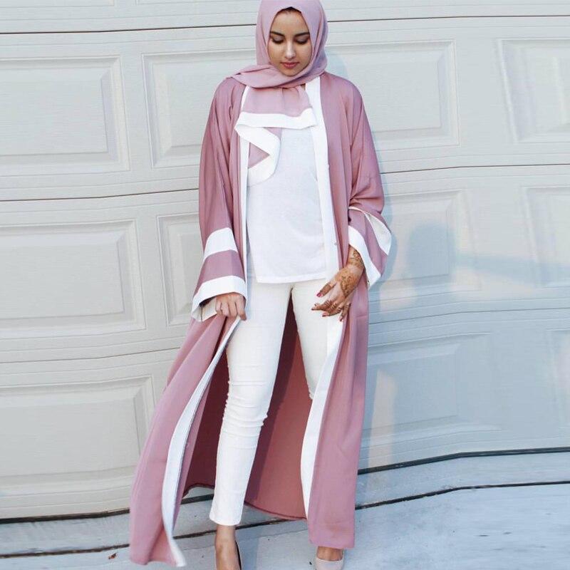 2019 Abaya Dubai Long Kimono Cardigan Muslim Dress Turkish Islamic Clothing Qatar Uae Kaftan Abayas For Women With Hijab Elbise
