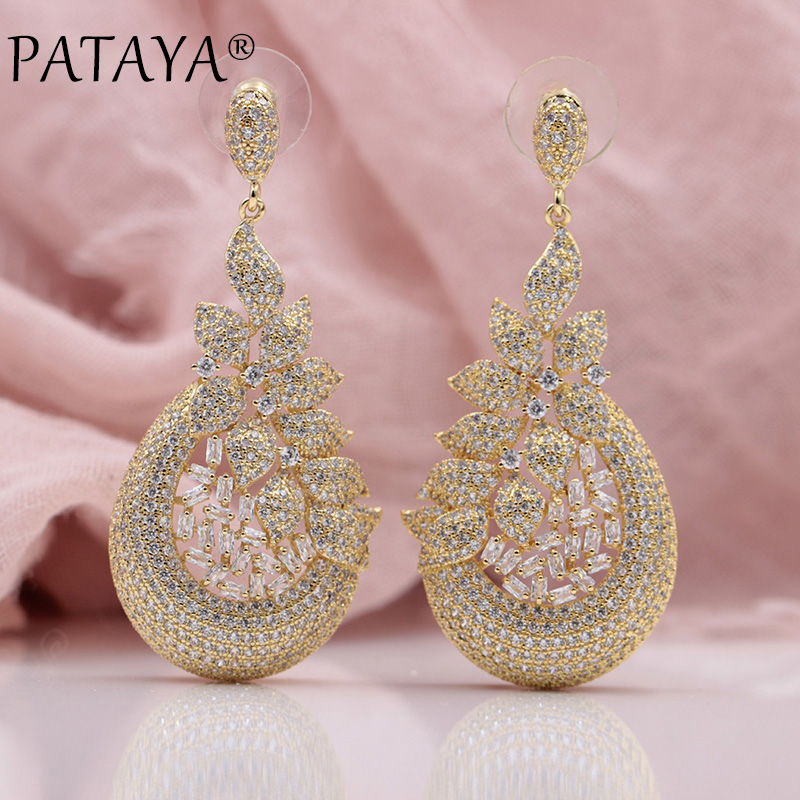 PATAYA New Women Wedding Party Luxury Noble Precious Fine Jewelry 585 Rose Gold Leaf Square Natural Zircon Long Stud Earrings 18k rose gold women stud earrings double balls fine engaged wedding jewelry fashion female delicate gift hot sale trendy party