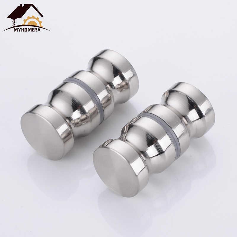 Myhomera Deurklink Glas Deurknop Puller Push Badkamer Douche Kast Handgrepen Dia 1.2 ''Aluminium Geborsteld/Zilver W/Schroef