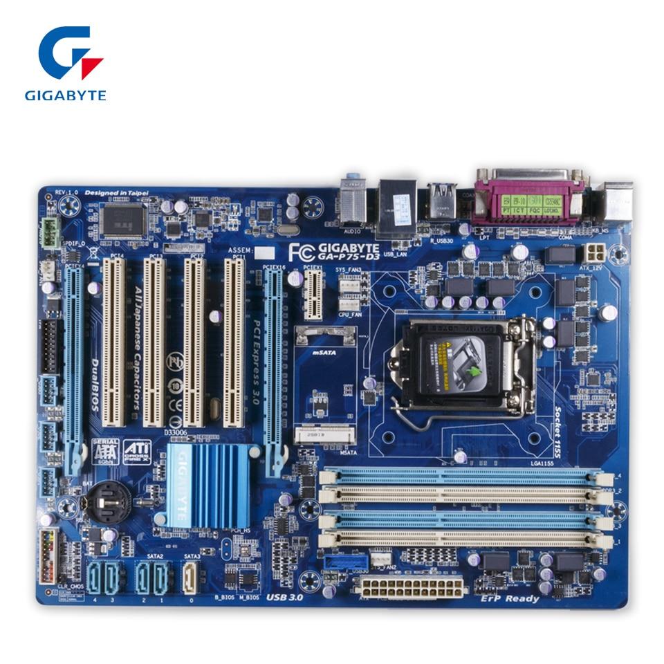 Gigabyte GA-P75-D3 Original Used Desktop Motherboard P75-D3 P75 Socket LGA 1155 i3 i5 i7 DDR3 ATX On Sale gigabyte ga p43t es3g original used desktop motherboard p43t es3g p43 socket lga 775 ddr3 atx on sale