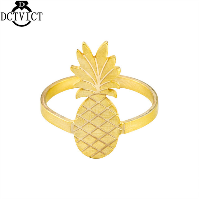 Stainless Steel Bague Femme Gold Silver Pineapple Ring Women Beach Jewelry Party Gifts Fashion Fruit Aneis Feminino Bijoux