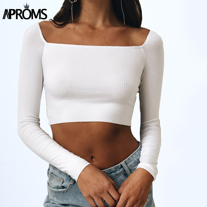 Aproms Black Square Neck Knitted Elastic Crop Top Womens Low Back Slim Basic Tank Top Streetwear Cropped Tops White Tees