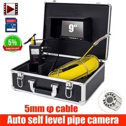 9 cal rura kanalizacji drenażu pod ziemią kamera inspekcyjna miernik auto samo balansowanie 28mm głowica kamery DVR z automatyczną regulacją poziomu w Kamery nadzoru od Bezpieczeństwo i ochrona na