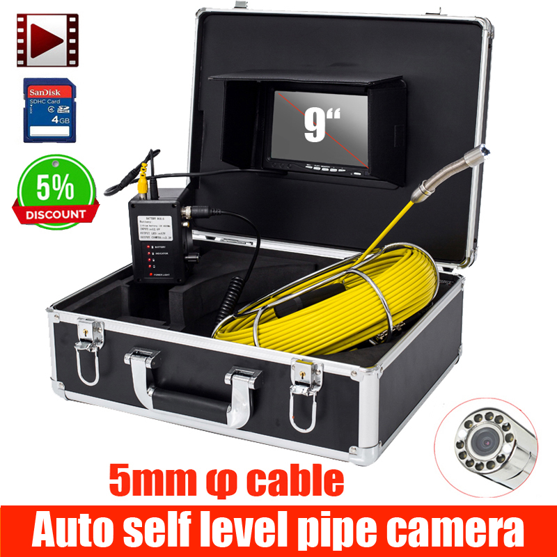 9inch Pipe Sewer Drain Underground Plumbing Inspection Camera Meter Counter Auto Self Balancing 28mm Camera Head DVR Self Level