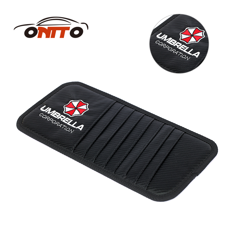 TOP sale storge bags 1pcs carbon fiber Leather Car CD Clips for Umbrella logo auto DVD clips Car Sun Shading Board