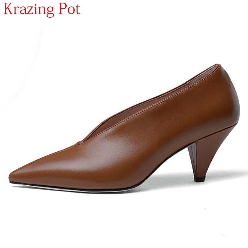 2018 nouveauté en cuir de vache marque printemps chaussures bout pointu talons hauts peu profonds femmes pompes bureau dame doux chaussures de mariage L92-in Escarpins femme from Chaussures    1