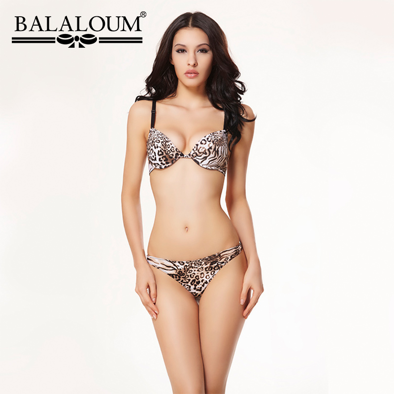 Balaloum Women Sexy Leopard Print 3/4 Cup Push Up Bra Brassiere And Panty Sets Seamless G-Strings T Back Thongs Soft Lingerie