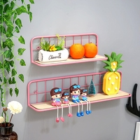 Multifunction Wooden Iron Wall Shelf Wall Mounted Storage Rack Home Decoration Organizer, Craft Storage Shelf