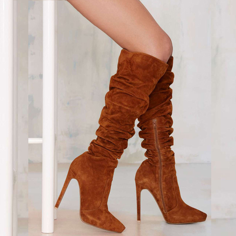 2018 женские коричневые сапоги до колена повседневные ботинки женская флоковая обувь Острый носок женская обувь Femme модные каблуки Размер 4-16 ... ...