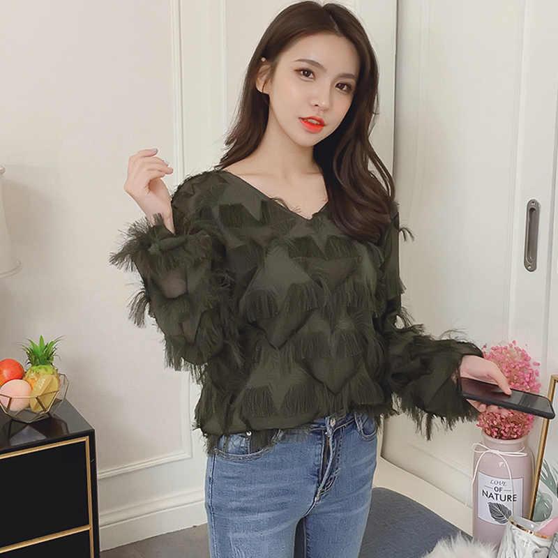 05f6dc21237 Blusas Mujer De Moda 2018 осенью новый кисточкой перья шифон дамы топы с  длинным рукавом Женская