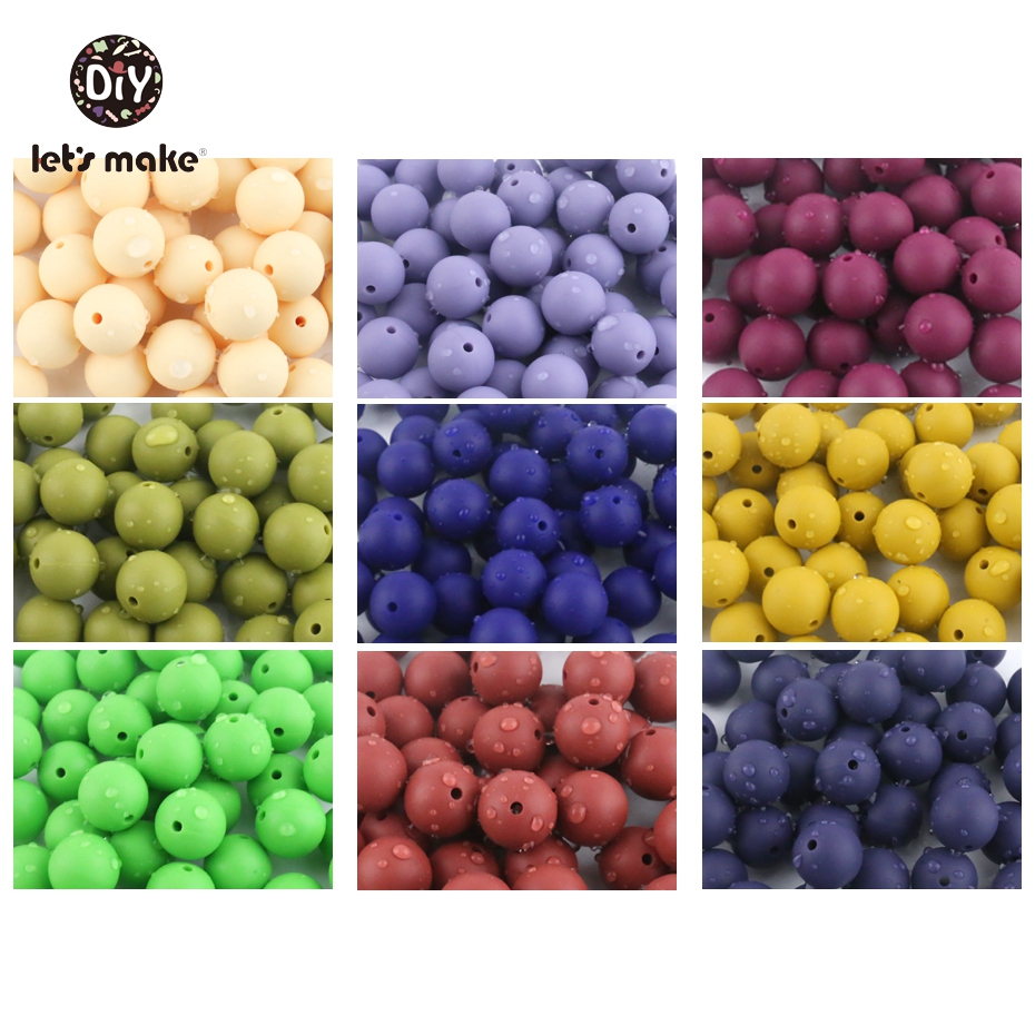 Let's Make 50pc Silicone Beads 15mm Round BPA FREE Loose Teething Chew Beads DIY Teether Nursing Necklace New Color Baby Teether