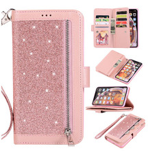 Luxury Zipper Flip Leather Case For iPhone X 10 XR 6 6s Plus 9 Cards Glitter Wallet Cover XS Max 7 8 Phone Cases