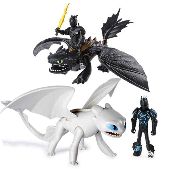 Nova Como treinar O Seu Dragão fúria da noite Desdentado Fúria da Luz Action figure Brinquedos para Crianças Presentes de Aniversário do Dragão Branco