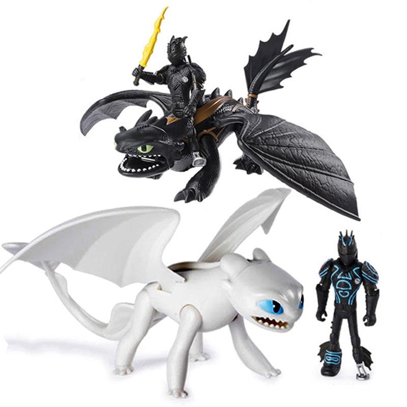 Novo como treinar o seu dragão luz fúria da noite desdentado figura de ação dragão branco brinquedos crianças presentes de aniversário