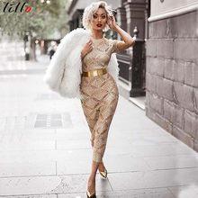 5f87c4094 2019 nueva moda oro rosa vestido de punto caliente sexy club nocturno  vestido elegante y hermoso