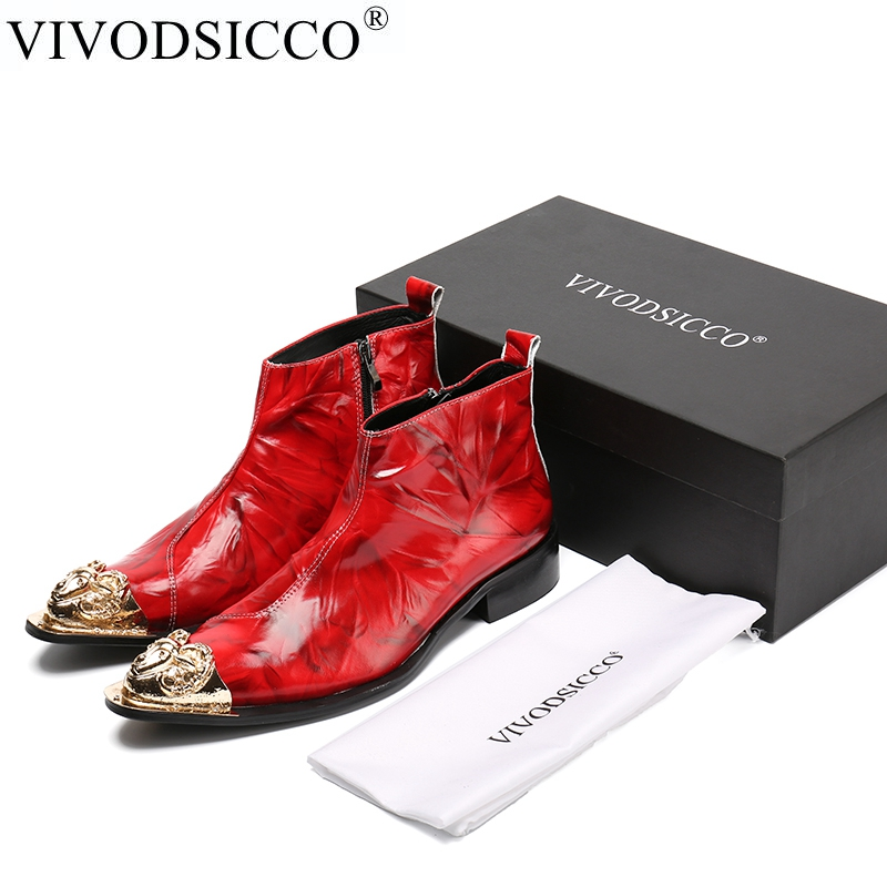 VIVODSICCO New Ankle Winter Shoes Genuine leather Men Pointed Toe Metal Toe Men's Dress Boots Fashion Mens Booties Botas Hombre handsome red genuine leather men ankle boots metal pointed toe mens wedding dress shoes high top botas hombre cowboy boots