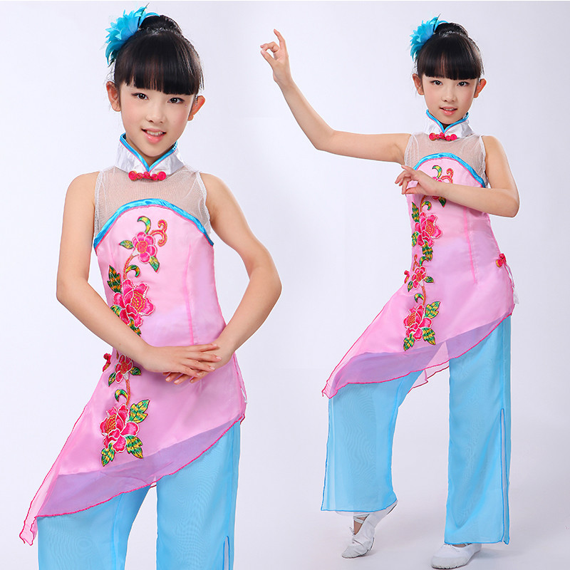 Childrens Chinese Folk Costume Girls Yangko Dance Costumes Modern Fan Dance Clothing Kids Group Stage Performance Child 18 Can Be Repeatedly Remolded. Novelty & Special Use Chinese Folk Dance