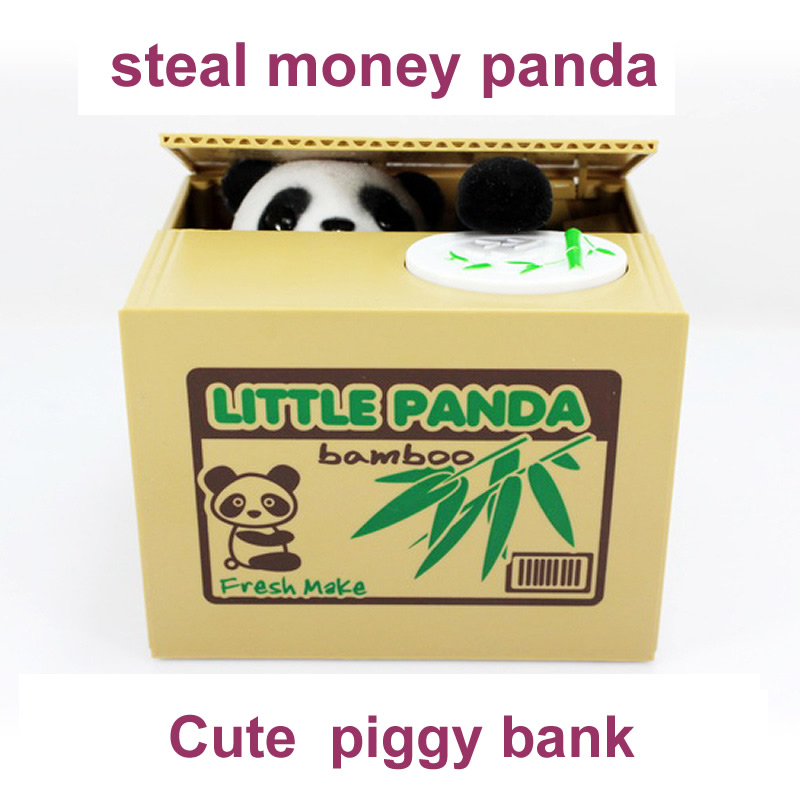 2016 New  Cute Panda Automatic Stole Coin Piggy Bank  Size Money Saving Box Moneybox Gifts   Gag Novelty toys for kids FSWOB