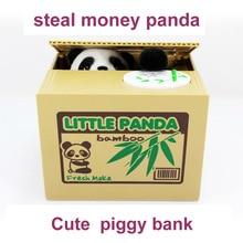2016 neue Nette Panda Automatische Stola Piggy Bank Größe geld Sparen Box Moneybox Geschenke Gag Neuheit spielzeug für kinder FSWOB