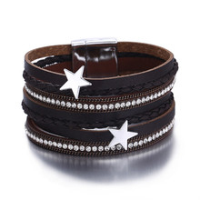3 Color Vintage Star Leather Charms Bracelets – Women Men Multiple Layers Magnetic Wrap Bracelets