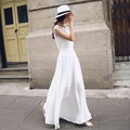 2016 Summer Elegant Ladies Casual Sleeveless Maxi Chiffon Beach Dresses Solid Black Dress White Dress for Women Vestiti Donna