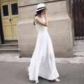 2016 Verão Elegante Das Senhoras Sem Mangas Casual Maxi Vestidos de Praia Chiffon Sólida Vestido Preto Vestido Branco para As Mulheres Vestiti Donna