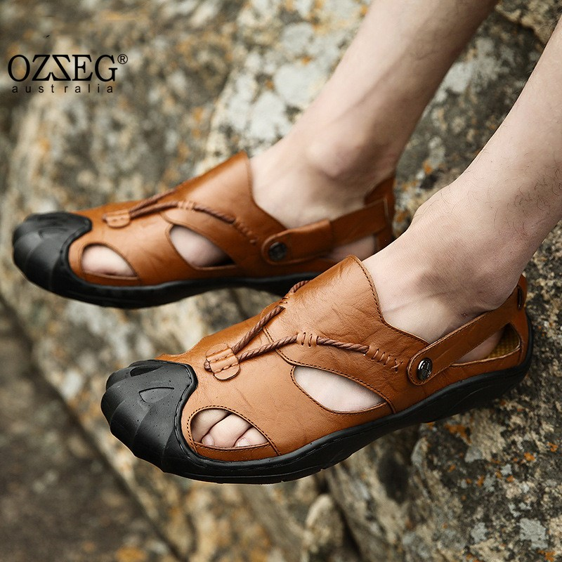 Genuine Leather Summer Soft Male Sandals Slip on Shoes For Men Breathable Beach Casual Quality Walking Sandal Size 38-46