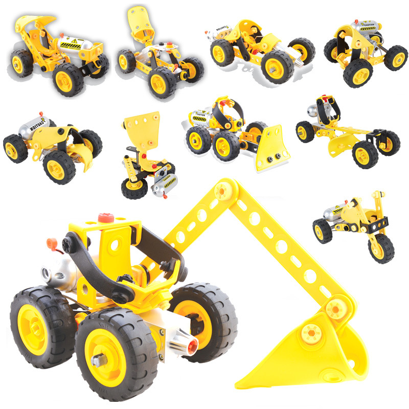 Children Electric Motor Building Blocks Kits DIY Engineering Vehicles Puzzle Educational Toy Screw Nut Assembled Car Toy 10 In 1 three s company ru bun lock children puzzle toy building blocks